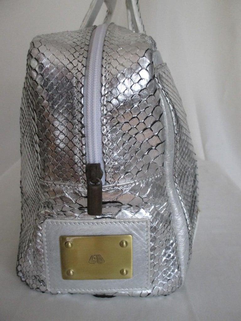 Women's or Men's Silver Metallic Exotic skin Leather Handbag For Sale