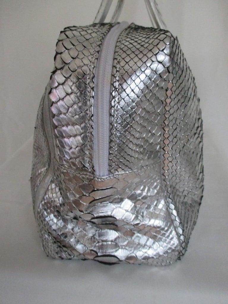 Silver Metallic Exotic skin Leather Handbag For Sale 1