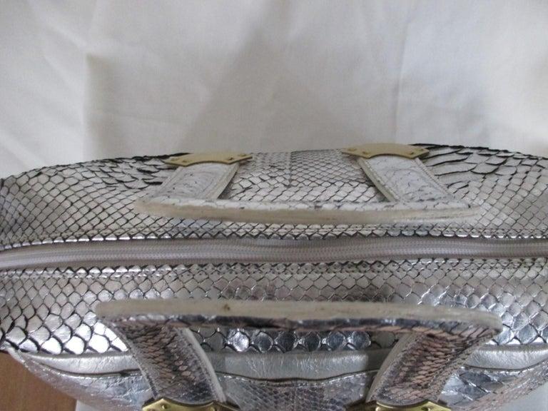 Silver Metallic Exotic skin Leather Handbag For Sale 3