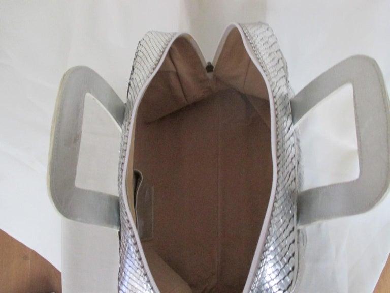 Silver Metallic Exotic skin Leather Handbag For Sale 4