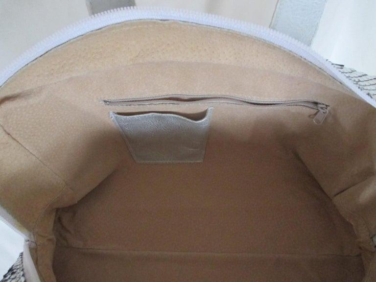 Silver Metallic Exotic skin Leather Handbag For Sale 5