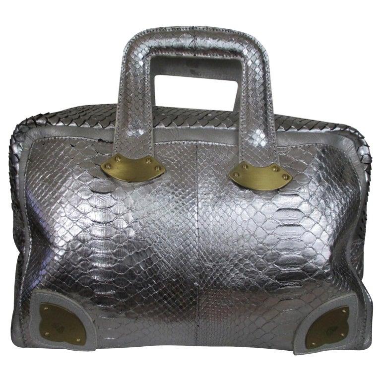 Silver Metallic Exotic skin Leather Handbag For Sale