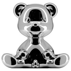 Silver Metallic Teddy Bear Lamp with LED, Made in Italy