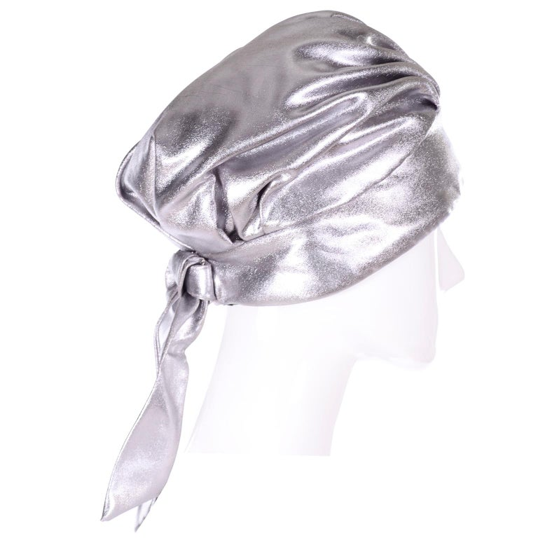 Silver Metallic Turban Style Hat from Nicholas Ungar Boutique In Excellent Condition For Sale In Portland, OR