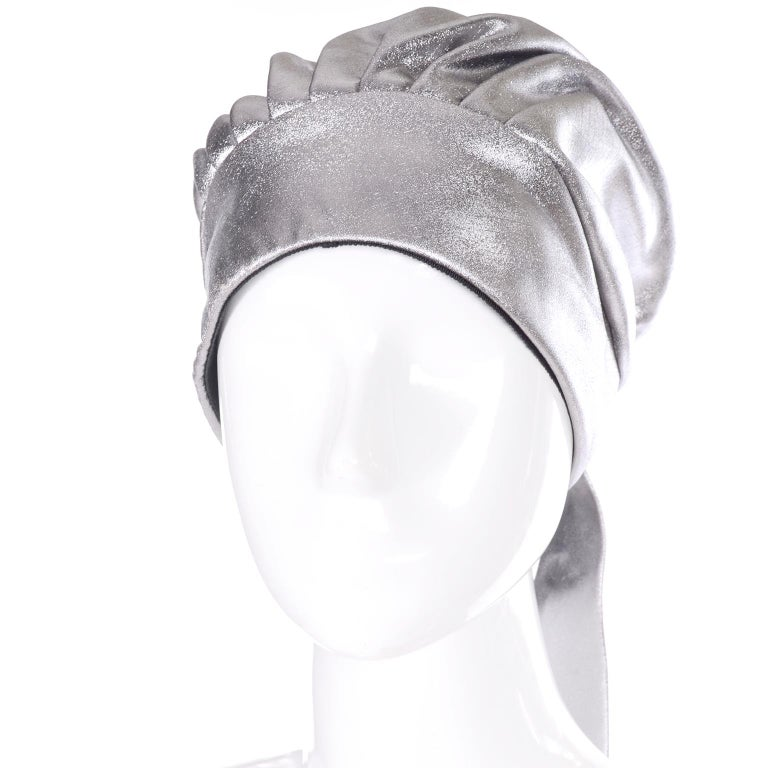 Women's Silver Metallic Turban Style Hat from Nicholas Ungar Boutique For Sale