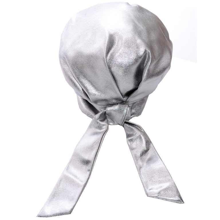Silver Metallic Turban Style Hat from Nicholas Ungar Boutique For Sale 2
