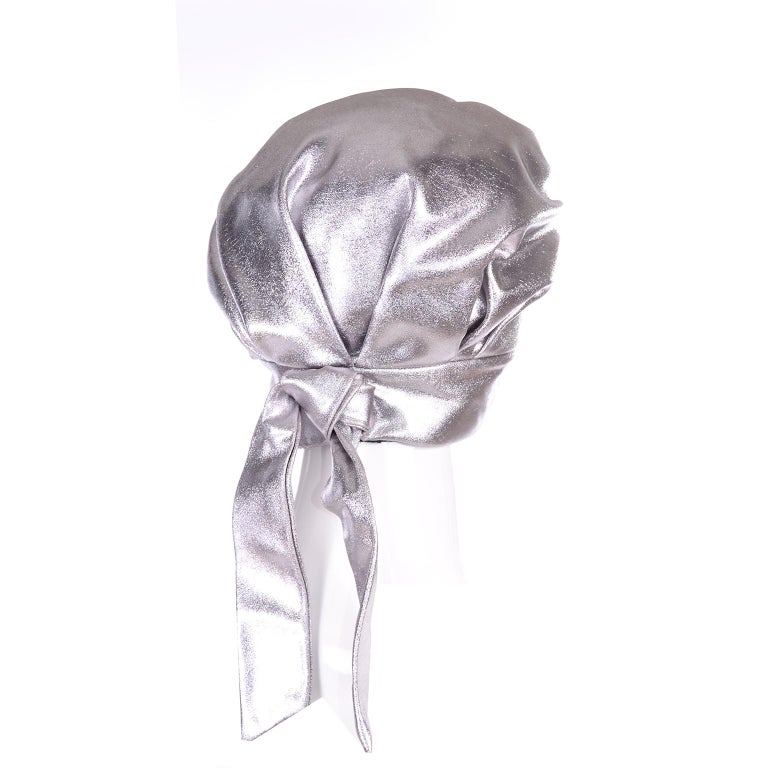 Silver Metallic Turban Style Hat from Nicholas Ungar Boutique For Sale 3