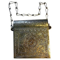 Silver Middle Eastern Locking Security Purse with Intricate Chased Designs