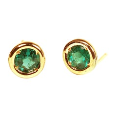 Silver Mini Set Emerald Stud Earrings Yellow Gold Plated