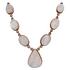 Silver Moonstone Necklace Rainbow Moonstone Pendant Chain Necklace 925