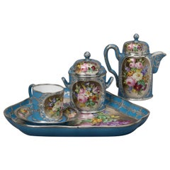 Silver Mounted Sèvres-style Porcelain Cabaret Set, French, circa 1880
