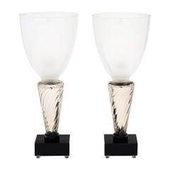 Silver Murano Glass Torchère Lamps