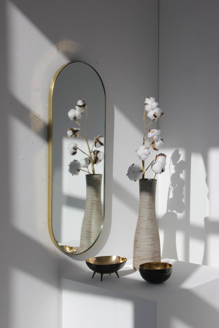 Organic Modern Silver Narrow Capsula Mirror with a Brass Frame For Sale