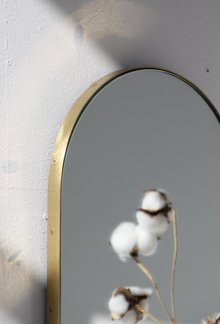British Silver Narrow Capsula Mirror with a Brass Frame For Sale