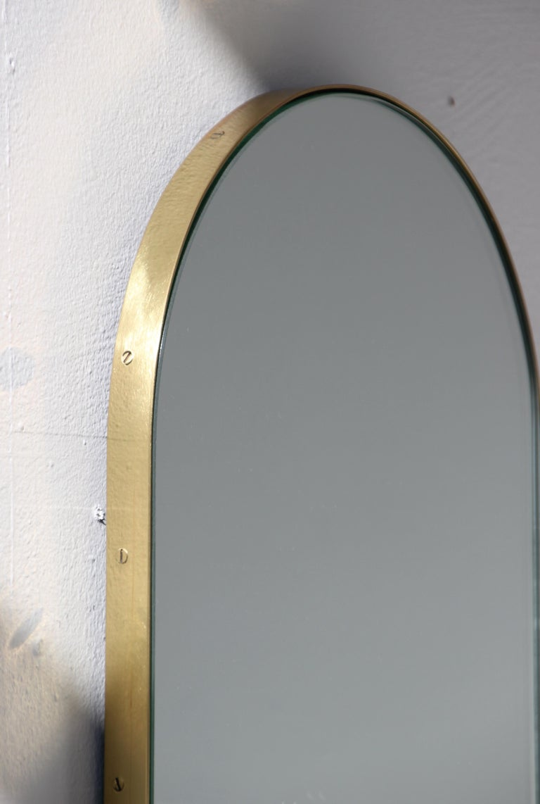 Contemporary Silver Narrow Capsula Mirror with a Brass Frame For Sale