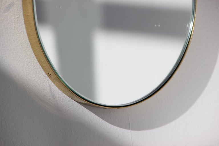 Silver Narrow Capsula Mirror with a Brass Frame For Sale 1