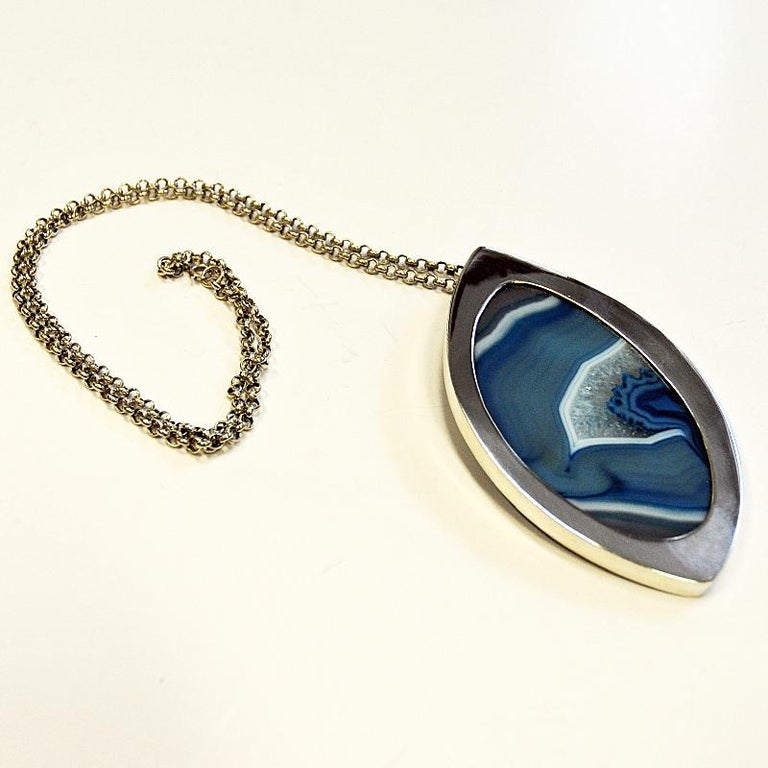 Scandinavian Modern Silver Necklace with Blue Agate Stone by Marianne Berg, Norway, 1960s For Sale