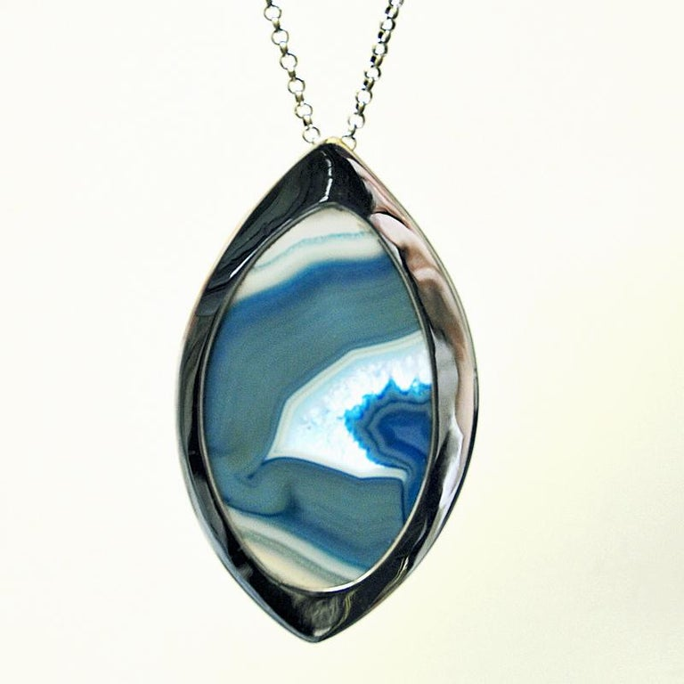 Norwegian Silver Necklace with Blue Agate Stone by Marianne Berg, Norway, 1960s For Sale