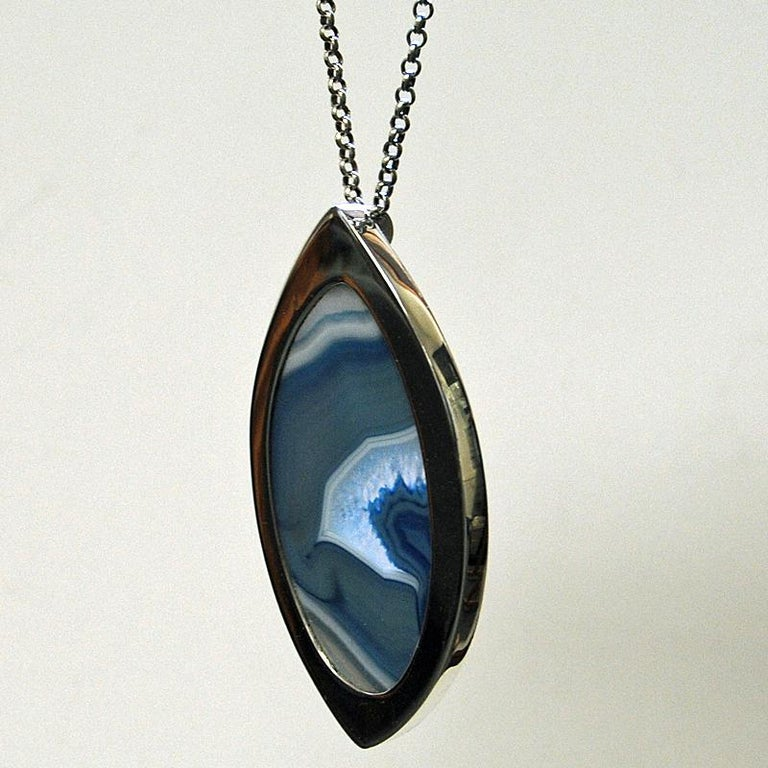 Silver Necklace with Blue Agate Stone by Marianne Berg, Norway, 1960s In Good Condition For Sale In Stockholm, SE
