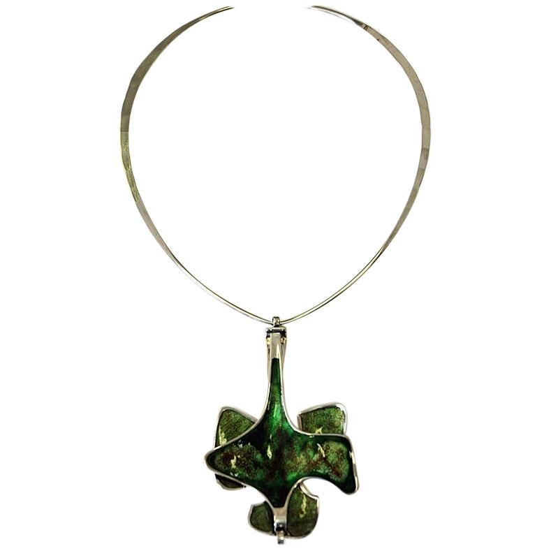 Silver Necklace with Green Enamel Pendant by Bjørn Sigurd Østern, Norway, 1970