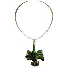 Silver Necklace with Green Enamel Pendant by Bjørn Sigurd Østern, Norway, 1970