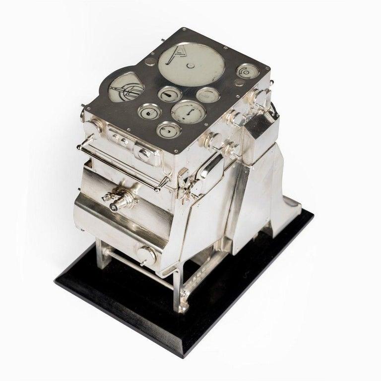 English Silver Novelty Perpetual Desk Calendar and Clock