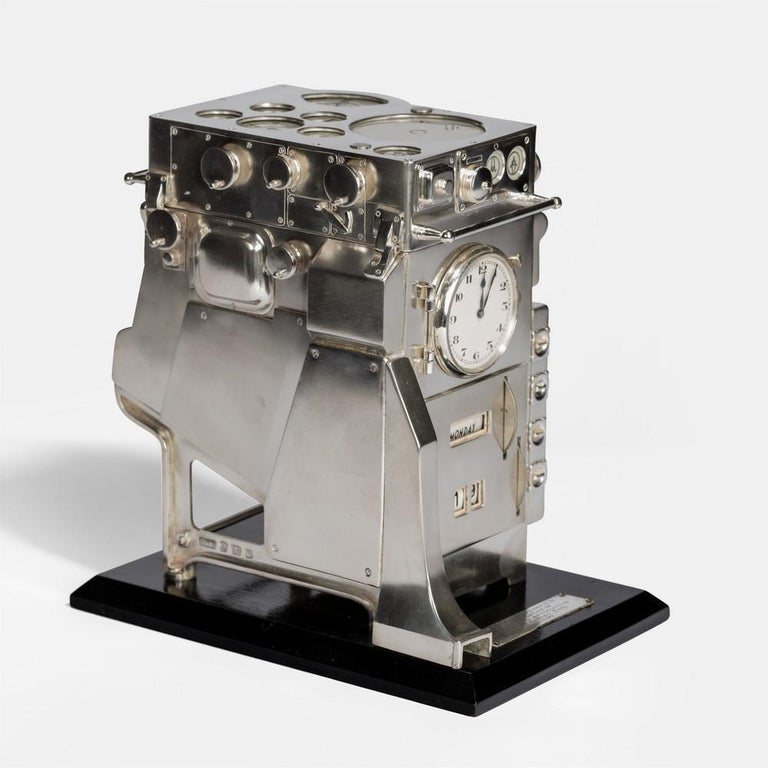 Mid-20th Century Silver Novelty Perpetual Desk Calendar and Clock