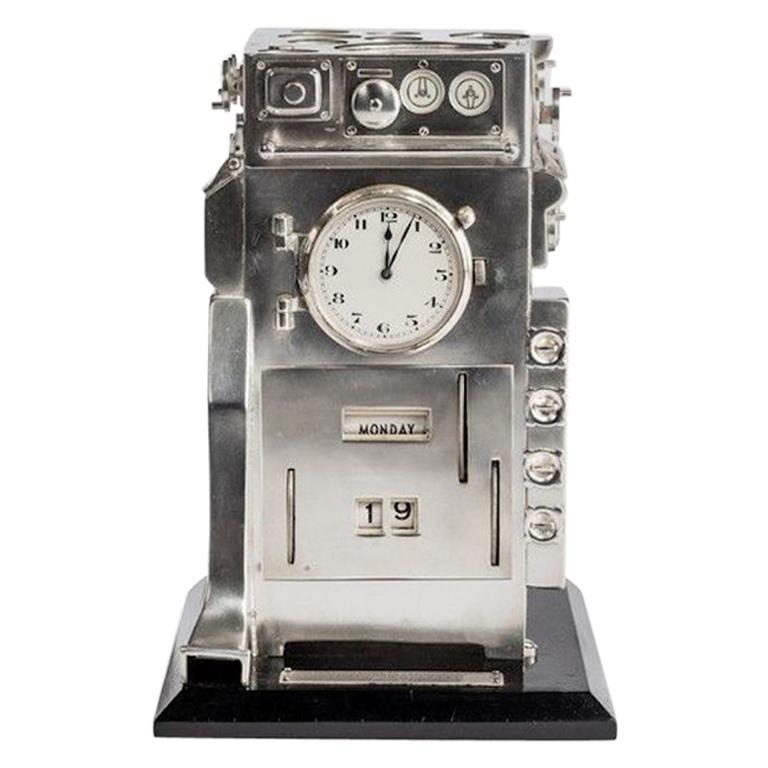 Silver Novelty Perpetual Desk Calendar And Clock For Sale At 1stdibs