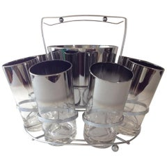 Silver Ombre Highball Set with Ice Bucket and Caddy