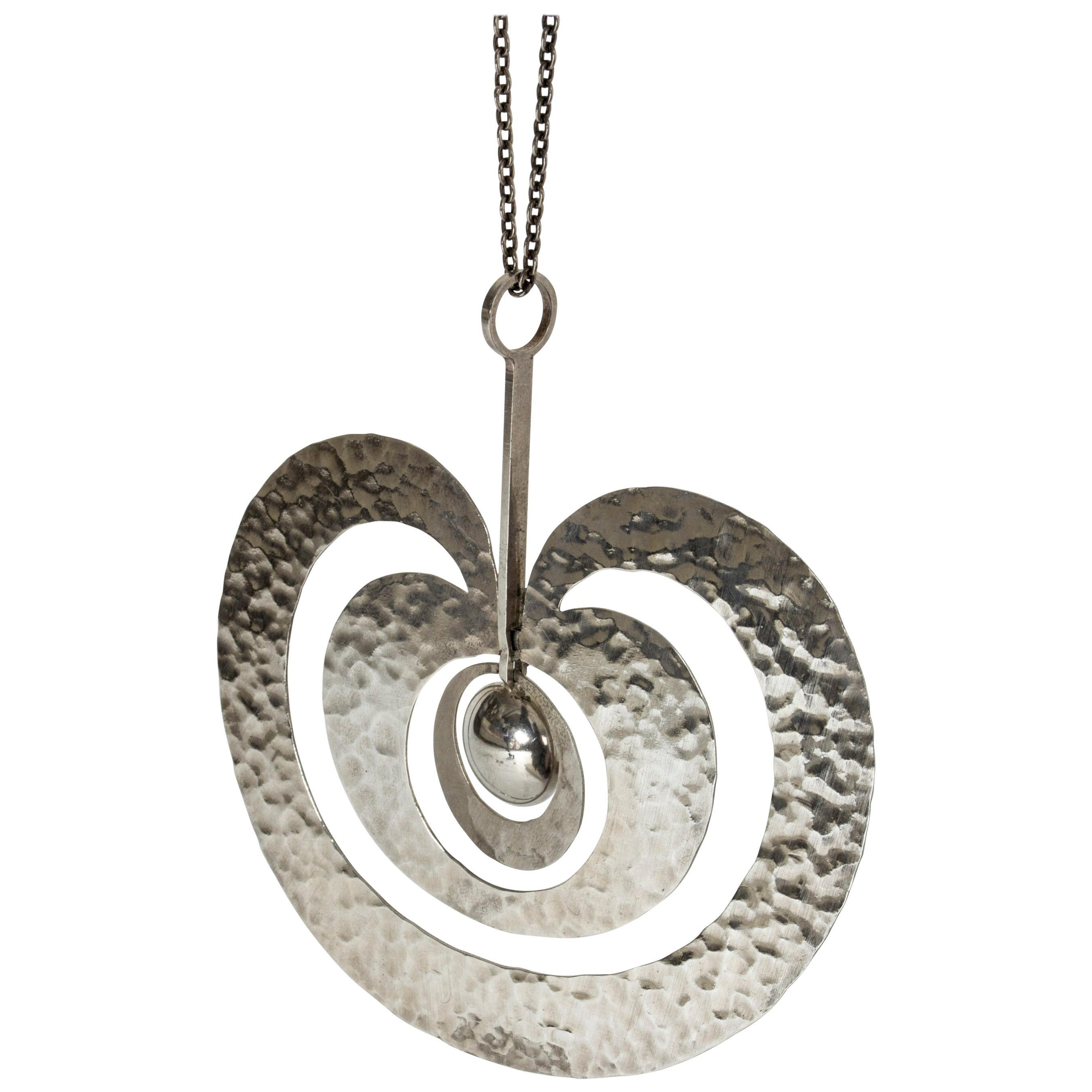 """Silver """"Omena"""" Necklace by Tapio Wirkkala for Kultakeskus Oy, Finland, 1975"""