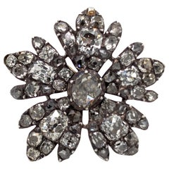 Silver on Gold Diamond Flower Ring, circa 1880