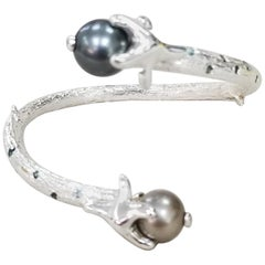 Silver Open Cuff South Sea Pearl Cuff