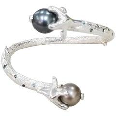 Silver Open Cuff South Sea Pearl Cuff