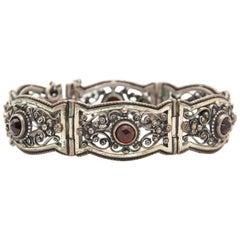 Silver Openwork Filigree Rose Cut Garnet Link Bracelet