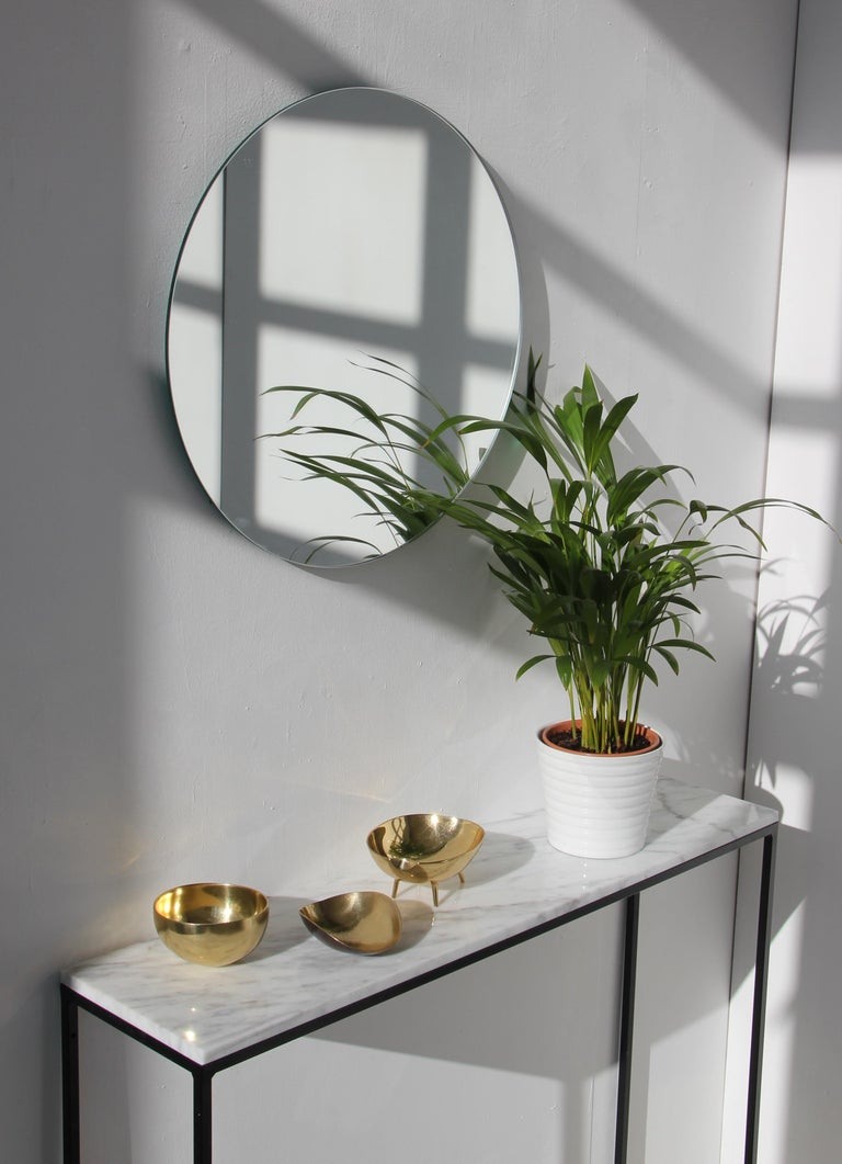 Modernist Silver Tinted Orbis Round Mirror Frameless, Medium, Customizable For Sale 1