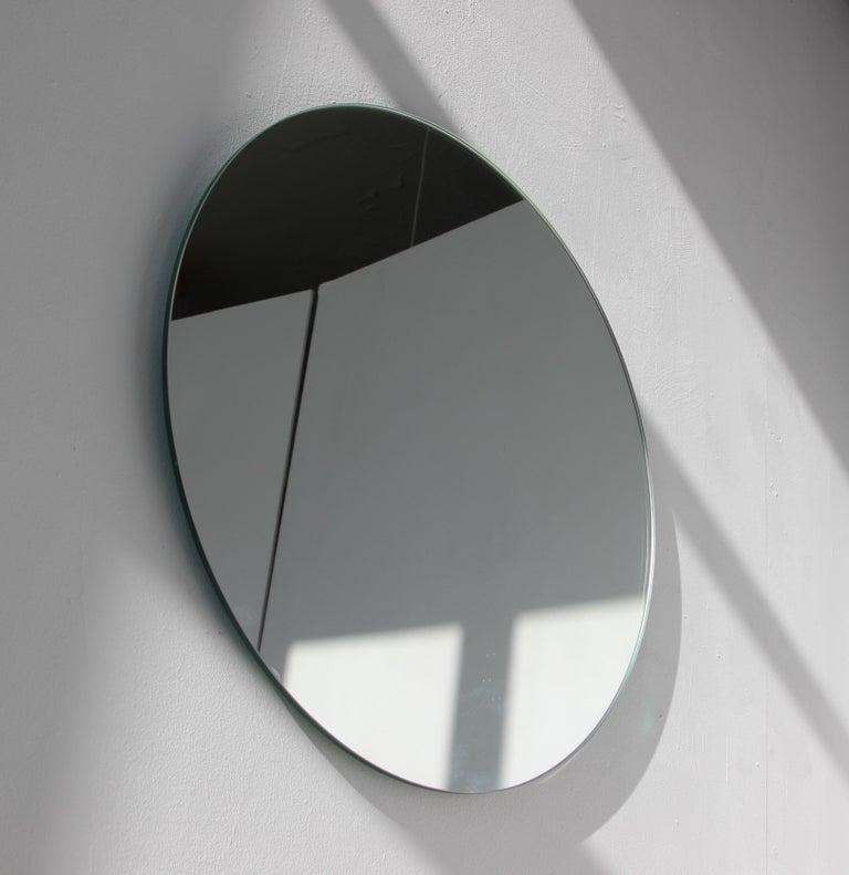 Modernist Silver Tinted Orbis Round Mirror Frameless, Medium, Customizable For Sale 2