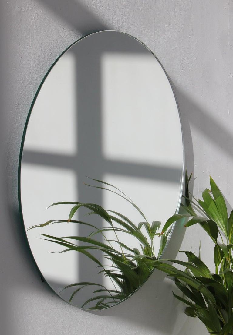 British Modernist Silver Tinted Orbis Round Mirror Frameless, Medium, Customizable For Sale