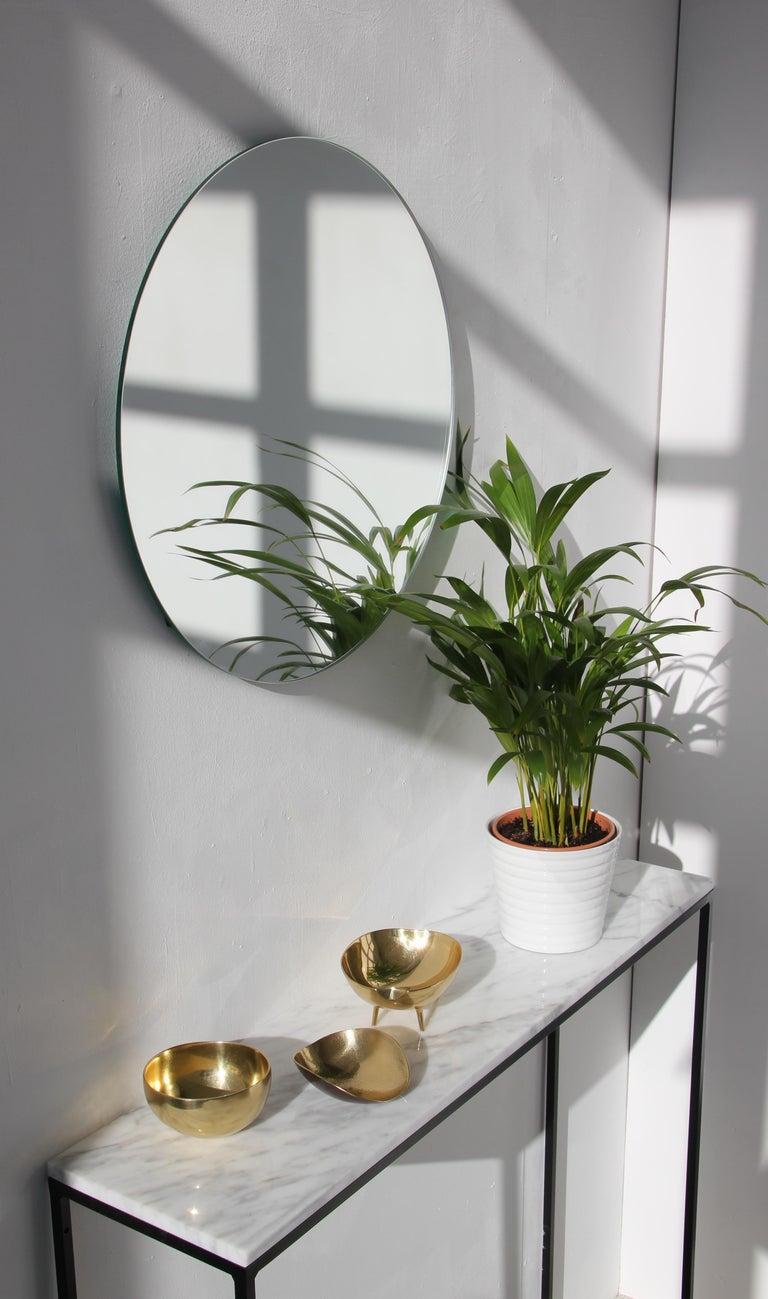 Silvered Modernist Silver Tinted Orbis Round Mirror Frameless, Medium, Customizable For Sale
