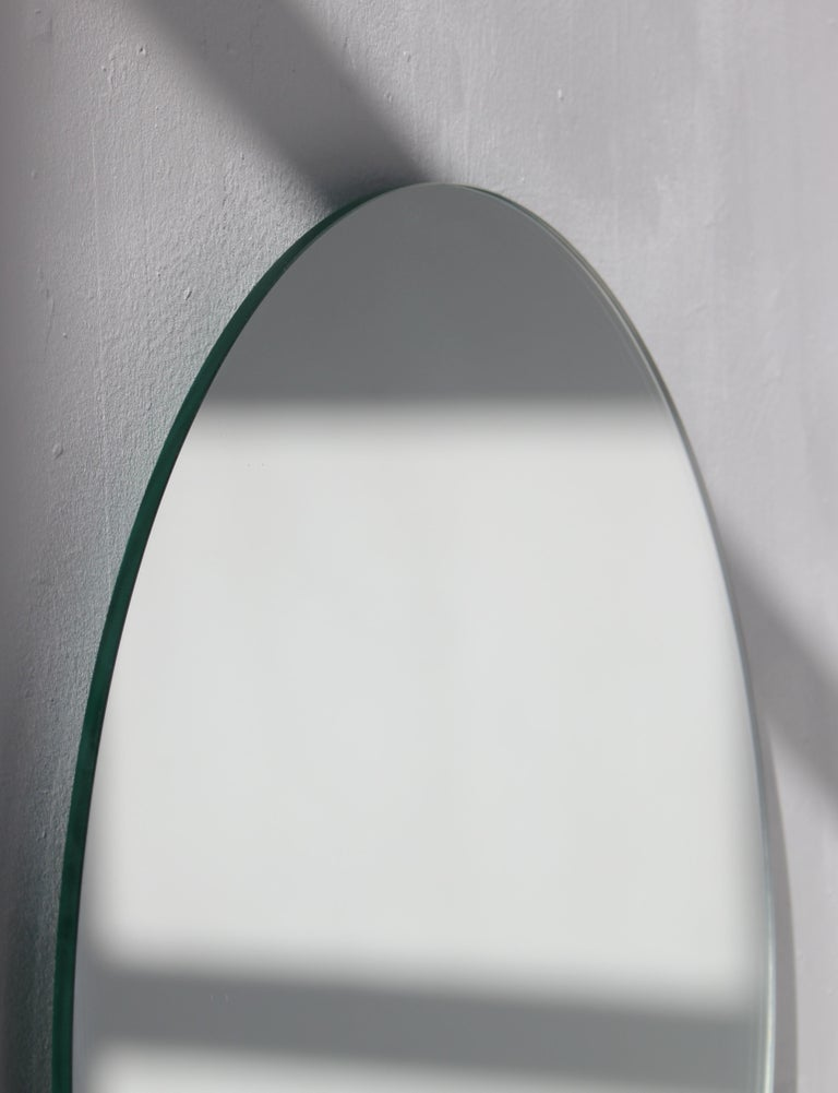 Modernist Silver Tinted Orbis Round Mirror Frameless, Medium, Customizable In New Condition For Sale In London, GB