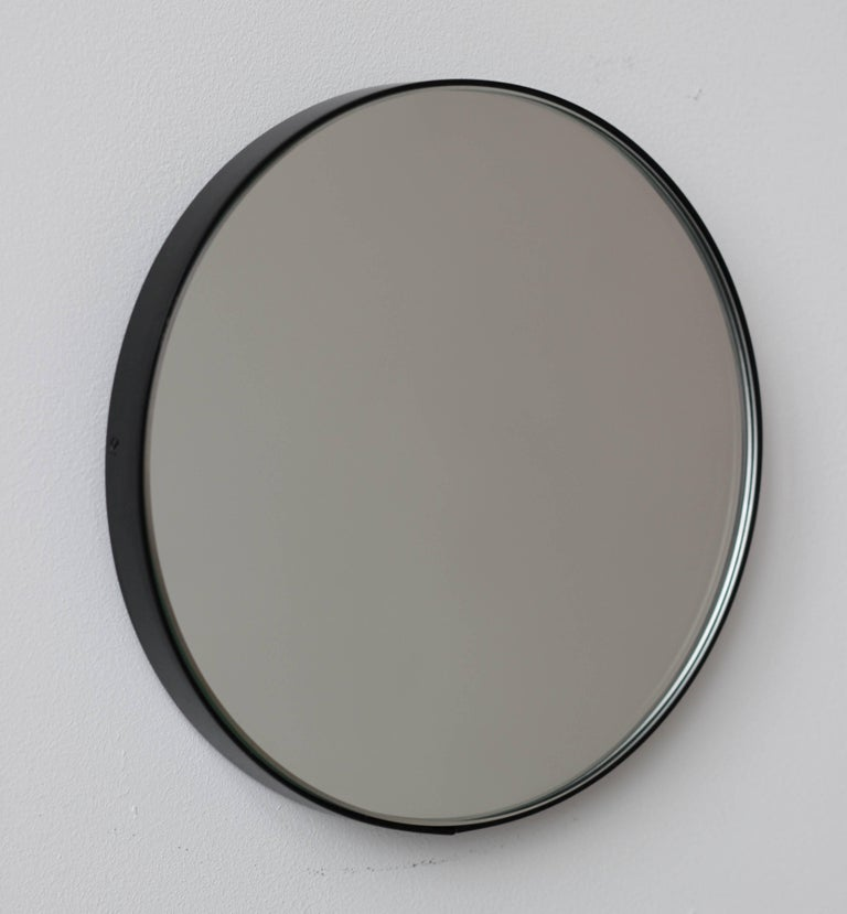 Silver Orbis Round Mirror With Black Frame Dia 100cm 39 4 For