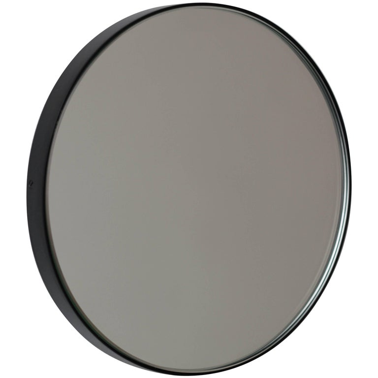 Silver Orbis Round Mirror With Black Frame Dia 40cm 15 8 For