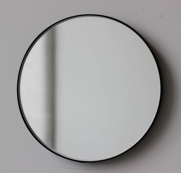 Silver Orbis Round Mirror With Black Frame Dia 79cm 31 1 For