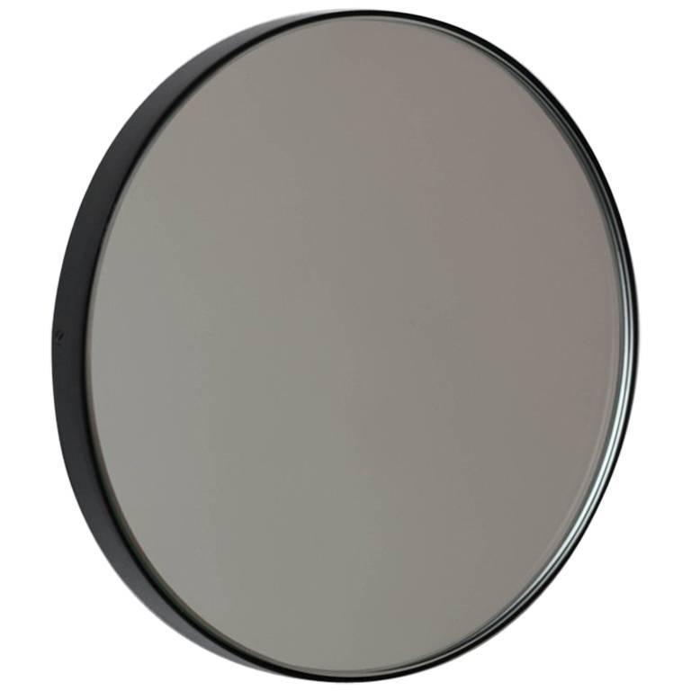 Orbis™ Round Contemporary Elegant Mirror with Black Frame - Large