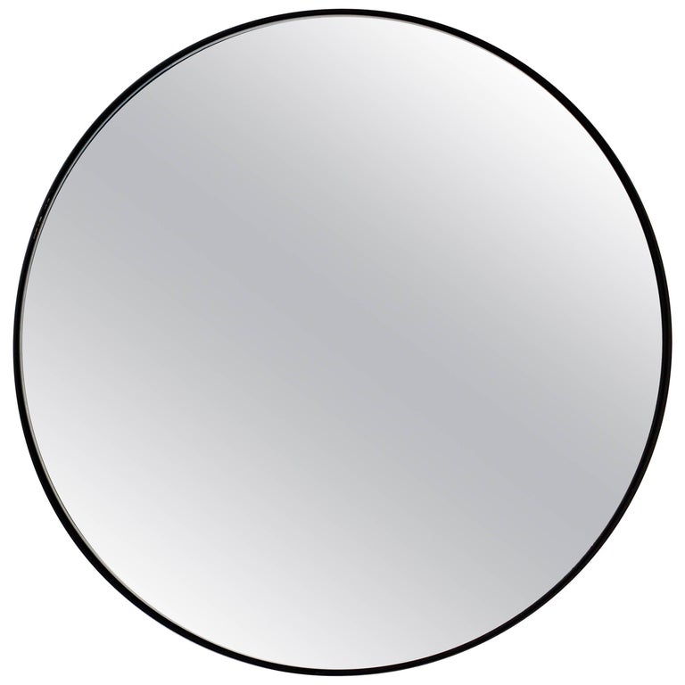 Silver Orbis Round Mirror With Black Frame Diam 50cm 19 7 For
