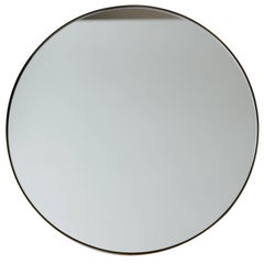 Silver Orbis Round Mirror with Brass Frame dia. 50cm