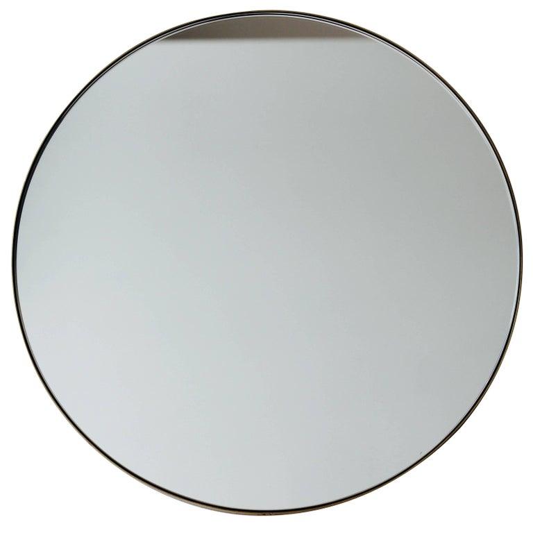 """Silver Orbis Round Mirror with Brass Frame dia. 50cm / 19.7"""""""