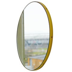Silver Orbis Round Mirror with Polished Brass Frame Dia. 79cm