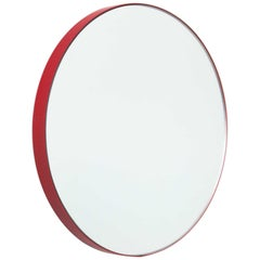 Orbis™ Round Modern Bespoke Mirror with Red Frame - Small