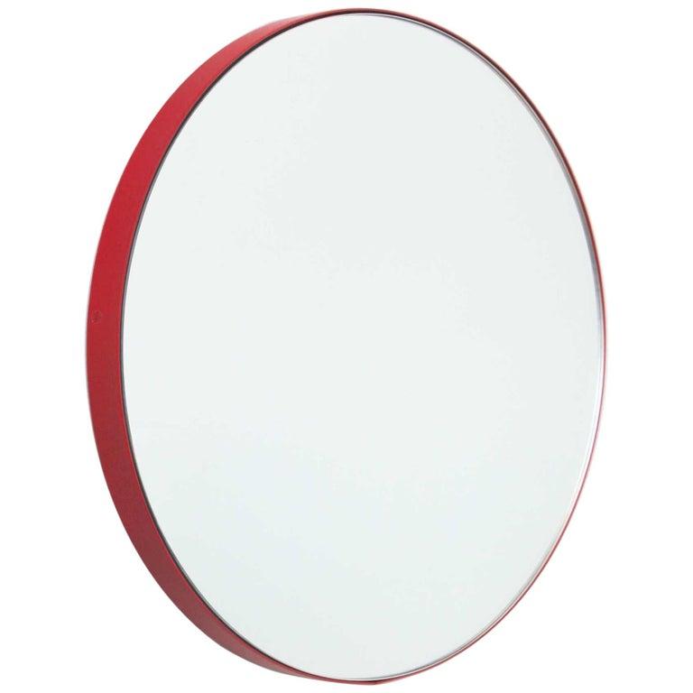Orbis Round Contemporary Mirror With, Red Round Mirror