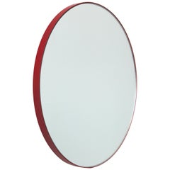 Orbis™ Round Contemporary Mirror with Red Frame - Regular
